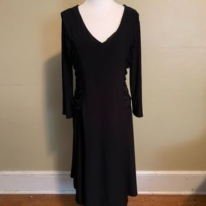 Vintage Kasper | Shirred Side Black Knit Dress 14